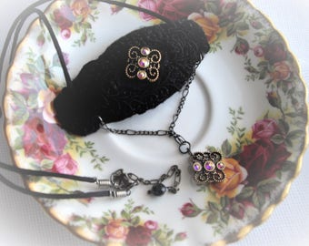 Victorian Titanic Inspired Black Gold Crystals One Of A Kind Statement Pendant Adjustable Chain Long Soft Silk Cord Handmade by handcraftUSA