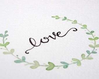Mini wreath, love, letter art