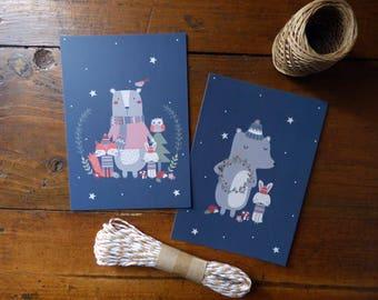 """Lot de 2 Cartes postales """"Les amis de la forêt"""""""