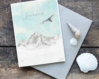 Mountain Greeting Card, Eagle Art, Blank Card, Bohemian, Hand Drawn Card, Original Artwork, Wildlife Art, Animal Illustration, Mountain Art