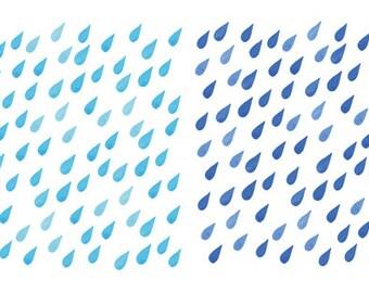 4 Watercolor Cliparts, Rain Clipart, Watercolor Rain, Handpainted Clipart