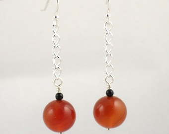 Carnelian Chain Drop Earrings