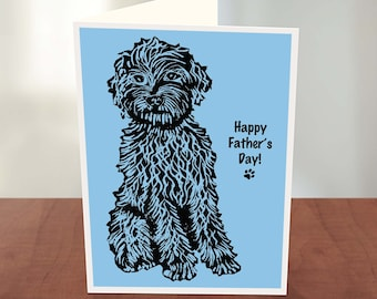 Personalised Cockapoo Labradoodle Card, Cockapoo Card, Cockapoo Lino Print Card, Cockapoo Birthday Card, Father's Day Dog Card, Dog Mother's