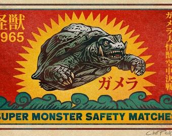 """Gamera Super Monster Matchbox Art- 5"""" x 7"""" matted signed print"""