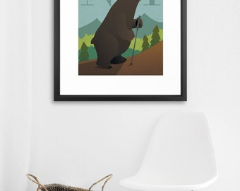 FRAMED Hiking Black Bear - Customize text!
