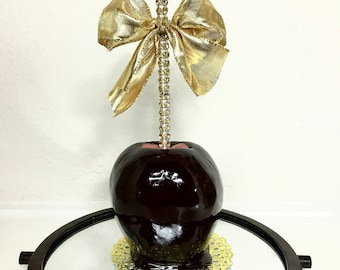 Black and Gold Bling Candy Apples - Strawberry Flavored