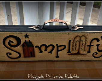 Primitive Wood Shelf Sitter Simplify Block Home Decor