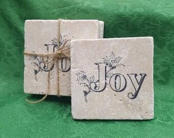 Holiday Gifts, Christmas Coasters, Joy Gifts, Christmas Gifts, Holiday Coasters, Holiday Decor, Christmas Decor, Stone Coasters, Coasters