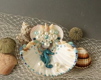 Beach Wedding Ring Bearer Pillow, Shell Ring Pillow, Seashell Ring Holder , Seahorse Wedding, Hand Crafted