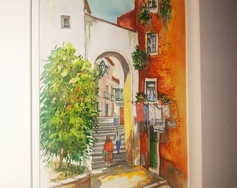 Water colour painting of South of France