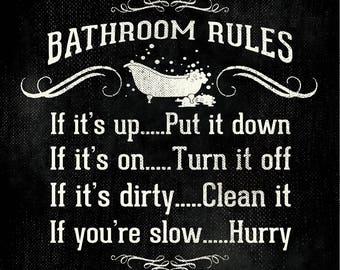 Bath Tub Rules 12x12 PRINT