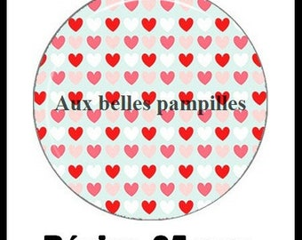 Round cabochon glue resin 25 mm - line (617) hearts - red, love, Valentine, love, gift, gift, epoxy, creating