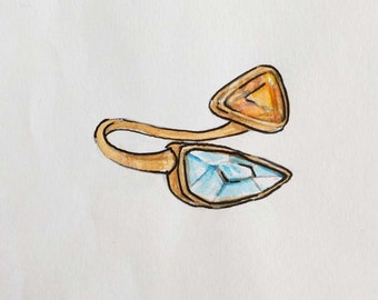 14k Gold Ring, Handmade Ring for Women, Unique Design, Customed Ring, Topaz Ring, sapphire Ring, Valentine's Day present, Gemstone Ring