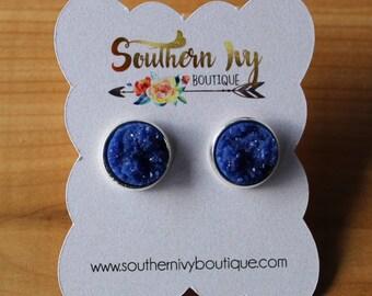 Dark Blue Druzy Earring Silver Post
