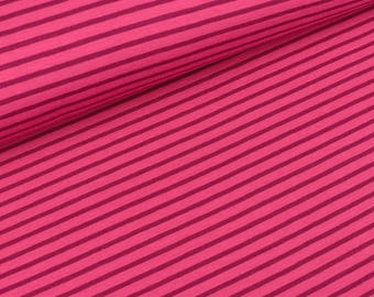 Cotton Jersey stripes pink - Berry (15,00 EUR / meter)