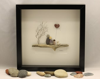 Pebble art, picture of family of three and dog, unique family gift, Christmas gift, fathers day gift, birthday, customised family art work.