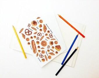 Bread Lover Stickers Set, Bread Stickers, Planner Stickers, Weekly Stickers, Sticker Art, Erin Condren, Decor Stickers, Long Bread, Pretzel