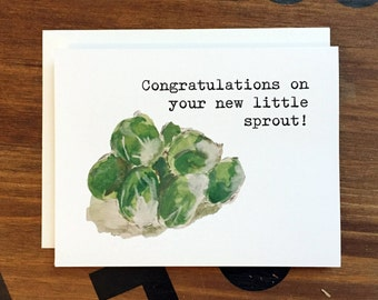 Blank Note Card, Brussels Sprout Pun, New Baby Card, Congratulations on Your New Little Sprout