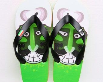 Hungarian Green Busó Child Flip Flop (printed surface)