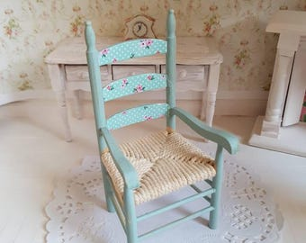 Dollhouse Miniature Shabby Chic,Doll house Miniatures,Doll house Chair,Shabby Chic Miniatures,1:12th Scale,Blue Cottage Chair