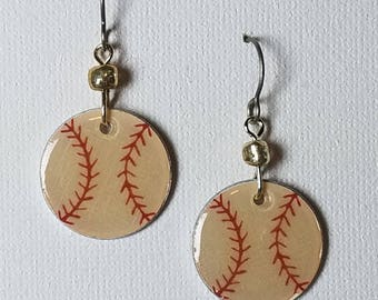 Baseball earrings, baseball jewelry, sports theme