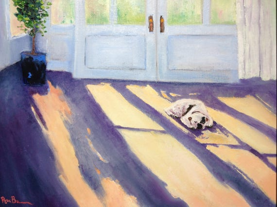 Dog Painting, Large Oil Painting, Gifts for Her, Gifts for Dog Lovers, Sleeping Dog
