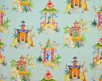 CLARENCE HOUSE ENCHANTED Pagodas Chinoiserie Toile Linen Fabric 10 Yards Teal Multi
