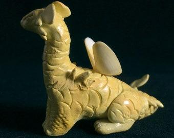 Draquina, Yellow - OOAK Handsculpted Polymer Clay Dragon Miniature Fantasy Sculpture