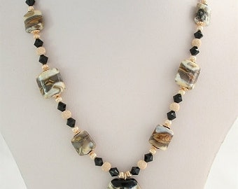 Caramello - Brown, Black & White Lampwork Necklace