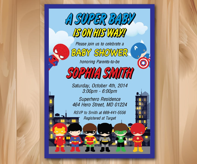 Superhero Baby Shower Invitation. Super hero Baby Shower