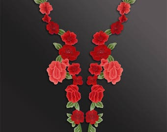 Big Floral Appliques, Embroidery Patches, Flower Collars one pair