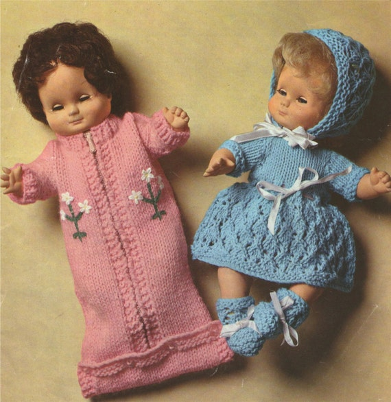 Dolls Clothes PDF Knitting Pattern : 12 inch Baby Dolly . Baby