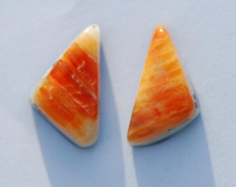 One Pair Orange Spiny Oyster Cabochons, Orange shell earring pair, Triangle 16 x 8mm, 7.35ct