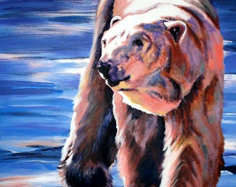 Arctic Prowler, wildlife paintings, wildlife art, paintings, bear paintings