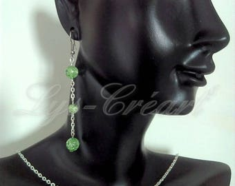 Set earrings and necklace, Pearl green Crackle effect - By Lily Creart'