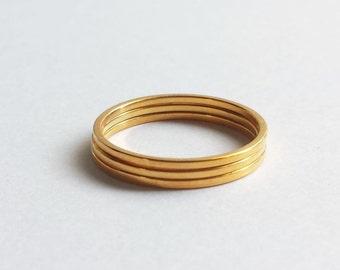 Solid 18K Gold Minimalist Stacking Rings. Custom Made to Order Stacking Rings. 18K Gold Thin Stacking Ring. Custom gold ring.