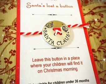 Handstamped Santas lost button for children at Christmas. Magical gift fun Santa Claus Father Christmas decoration Christmas Eve keepsake