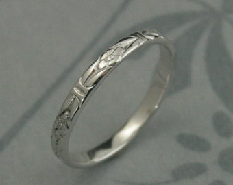 14K Solid White Gold Romance in the Garden Wedding Band or Stacking Ring--Solid 14K White Gold Floral Patterned Ring--Custom Made