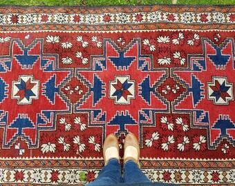 Vintage Caucasian rug, Lesgi Star carpet, vintage Turkish rug, red and blue area rug, tribal rug, nomadic rug, Persian rug, CAS31