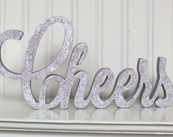 CHEERS Wood Sign, Glitter Sign, Wood Word Cheers glitter wood signs - Made to Order