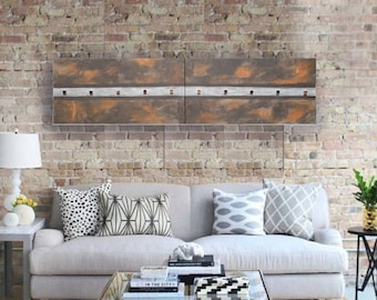 Brown silver abstract textured diptych mosaic A255 50x200x2 cm modern wall art for living room set of 2 original paintings by artist Ksavera