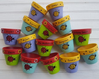 Kids Party Supplies - Kids Party Favors - Small Flower Pots - Kids Birthday Favors - Seed Planting Party