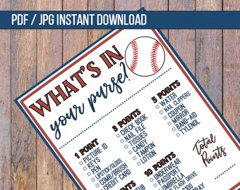 Baseball Baby Shower Game | 8.5 x 11 | Instant Download | Purse Baby Shower Games Print | Boy Baby Shower Ideas | Boy Baby Shower Activities
