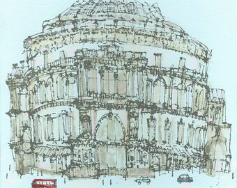 London Print, ROYAL ALBERT HALL, Line Drawing, Acrylic Painting, Red Bus London Architecture, Limited Edition Giclee Print, Clare Caulfield