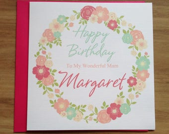 Handmade Personalised Flowers Birthday Card Mum ,Mam ,Wife ,Friend ,Daughter ,Aunt