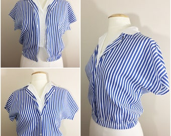 Blue and White Striped Cropped Shirt // Eber. Etc. Striped Button Up Blouse