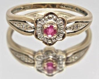 Vintage Ruby Ring | Ruby & Diamond Flower Ring, 9ct / 9k Gold | Size UK O / USA 7. 1/4