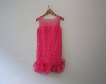 Vintage 1960's Hot Pink Ostrich Feather Dress S