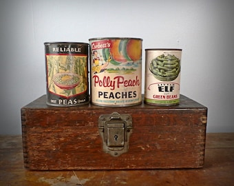 Vintage 1940s 1950s Vegetable & Fruit Can Trio