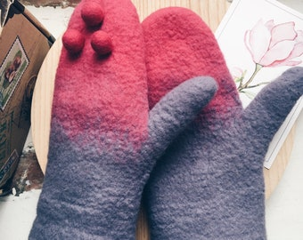 Pink and purple felted wool mittens